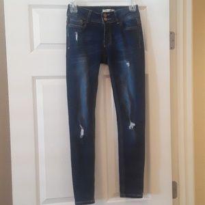 Junior's Distressed Skinny Jeans Encore Denim